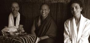 left to right Ricky A. Swaczy, Khensur Jhado Rinpoche, Serenella Giorgetti.
